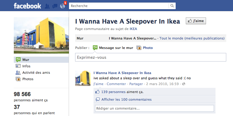 ikea 100 fans facebook invit s passer une nuit dans un magasin llllitl. Black Bedroom Furniture Sets. Home Design Ideas