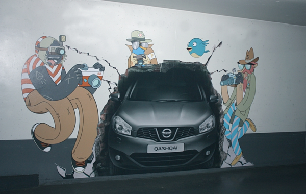 llllitl-nissan-qashqai-mc-bess-illustration-trompe-loeil-parking-paris-lyon-vinci-TBWA-ambient-marketing-affichage-outdoor