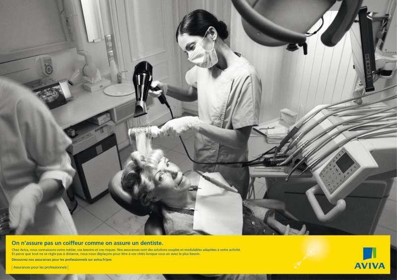 llllitl-aviva-assurances-publicité-marketing-professionnels-métiers-affiche-poster-noir-et-blanc-dentiste-boucher-fleuriste-coiffeur-plombier-sécurité-risques-agence-clm-bbdo