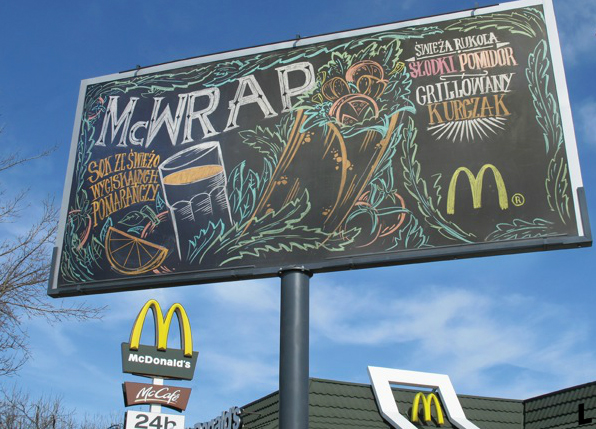 llllitl-mcdonalds-warswaw-poland-varsovie-pologne-advertising-marketing-publicité-street-art-billboard-chalkboard-ardoise-menu-Agency-DDB-Warsaw-Artist-Stefan Szwed-Stronzynski-Art-studio-Good-Looking-Production-Krewcy-Krawcy-Productions