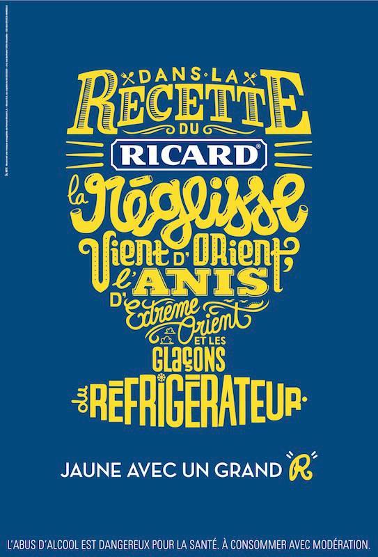 llllitl-ricard-publicité-pastis-print-marketing-alcool-calligraphie-typographie-minimaliste-jaune-avec-un-grand-r-agence-betc