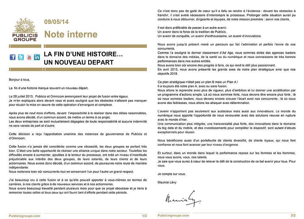 publicis-omnicom-group-fusion-annulee-publicite-communication-maurice-lévy-note-interne-publicis-groupe