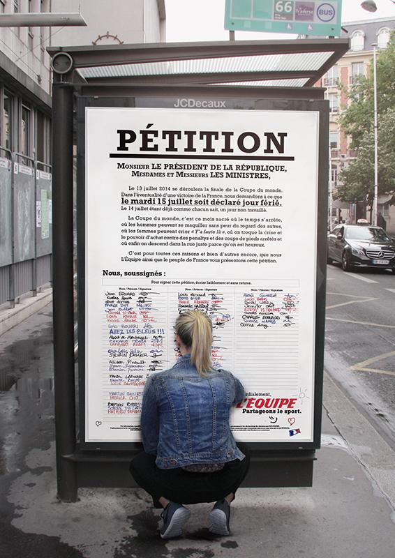 l'équipe-journal-sport-publicité-marketing-pétition-signatures-15-juillet-2014-férié-print-affiche-abribus-agence-ddb-paris-1