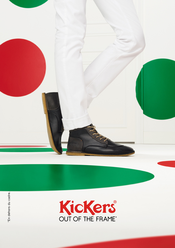 kickers-publicité-marketing-affiches-prints-rouge-vert-chaussures-homme-femme-enfant-out-of-the-frame-agence-la-chose-paris-1