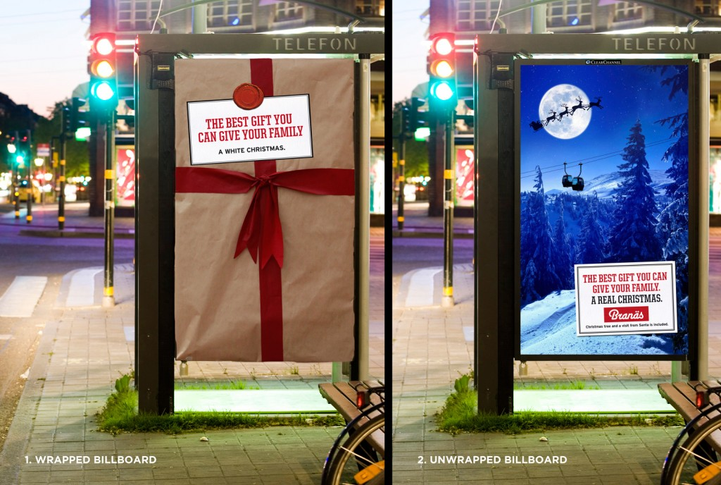 llllitl-branäs-ski-resort-publicité-marketing-street-marketing-bus-shelter-a-real-christmas-commercial-ad-2012-ski-surf-winter-agency-bulldozer-reklambyra-karlstad-sweden