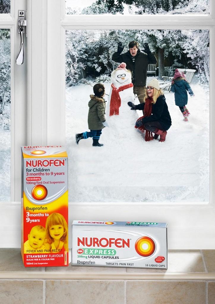 llllitl-nurofen-reckitt-benckiser-commercial-print-campaign-winter-publicité-cold-flu-froid-rhume-enfant-famille-marketing-hiver-2012-uk-snowman-garden-bonhomme-de-neige-jardin-famille