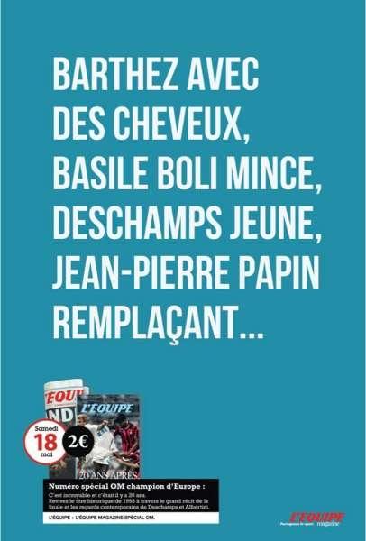 llllitl-l'equipe-journal-sportif-edition-numero-special-om-olympique-marseille-champion-d'europe-ligue-des-champions-europa-league-barthez-basile-boli-deschamps-jean-pierre-papin-agence-ddb-paris-publicité-print-marketing-wtf