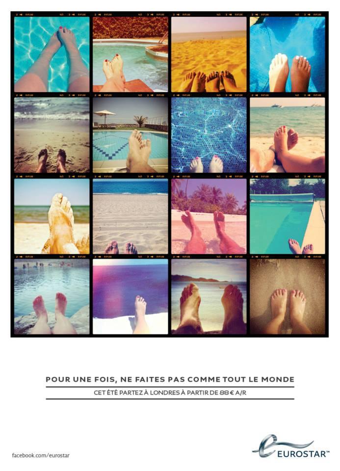 llllitl-eurostar-publicité-communication-marketing-print-pub-londres-paris-train-tgv-été-2013-spectacle-guignol-ne-faites-pas-comme-tout-le-monde-pieds-piscine-éventail-agence-clm-bbdo