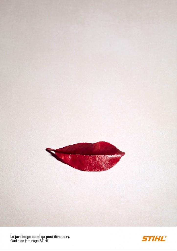 stihl-publicité-marketing-print-lèvres-bouche-feuille-rouge-agence-publicis-conseil