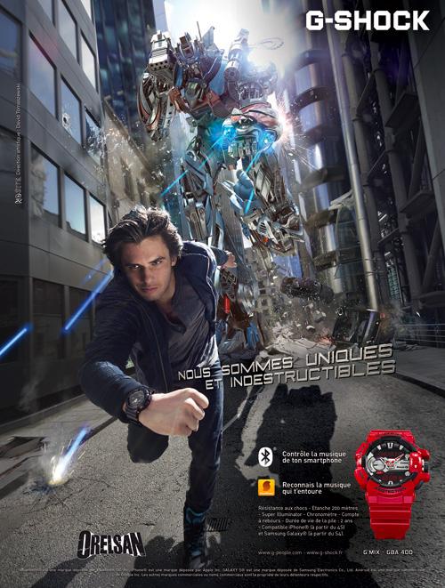 g-shock-montres-publicité-marketing-affiche-print-orelsan-chanteur-robot-londres-nous-sommes-uniques-et-indestructibles-agence-no-site-2014