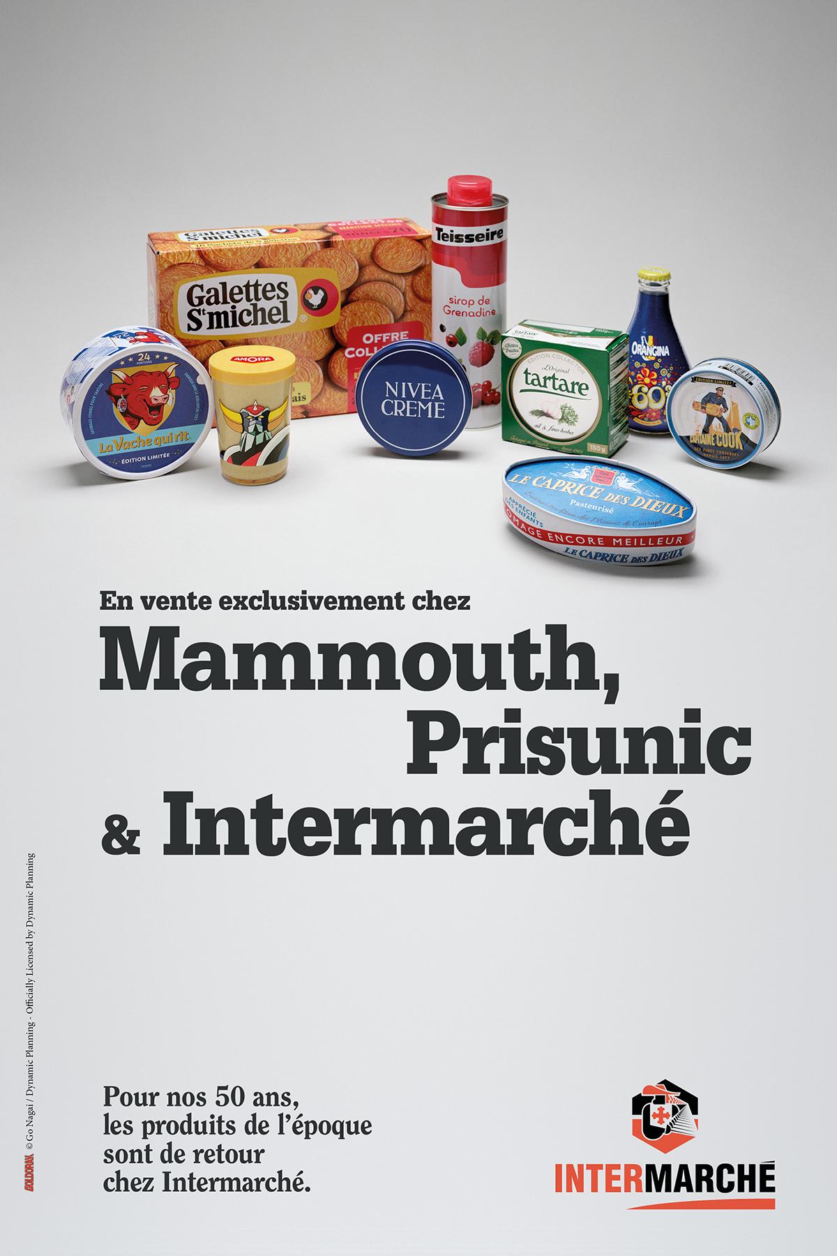 intermarche-50-ans-tf1-evelyne-leclercq-agence-romance-amora-capitaine-cook-caprice-des-dieux-galettes-st-michel-la-vache-qui-rit-nivea-orangina-tartare-teisseire-packaging-1960-1970