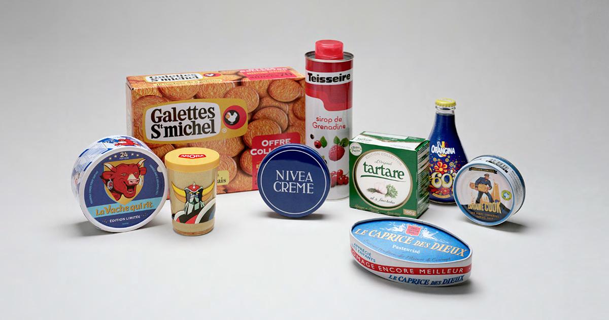 intermarche-50-ans-tf1-evelyne-leclercq-agence-romance-amora-capitaine-cook-caprice-des-dieux-galettes-st-michel-la-vache-qui-rit-nivea-orangina-tartare-teisseire-packagings-1960-1970