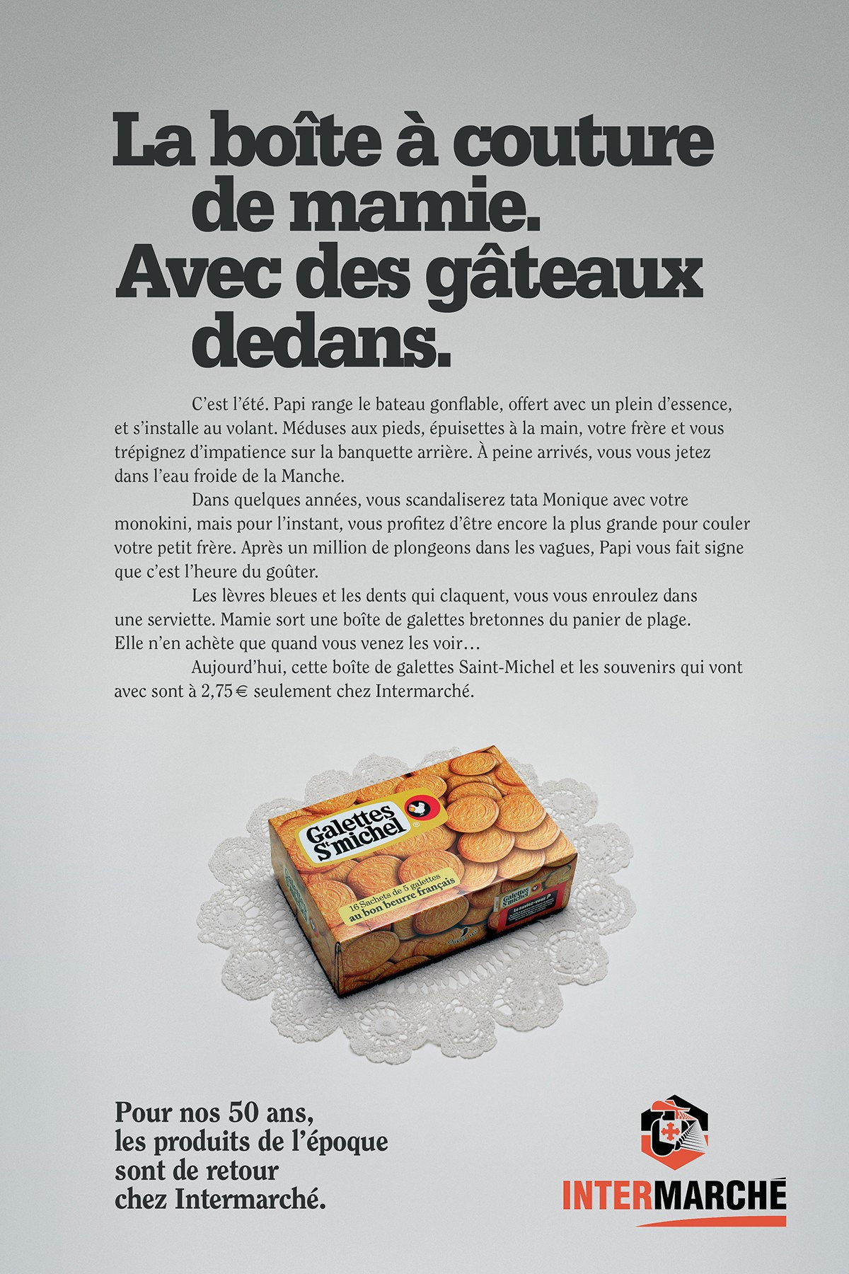 intermarche-50-ans-tf1-evelyne-leclercq-agence-romance-galettes-saint-michel-packaging-1960-1970