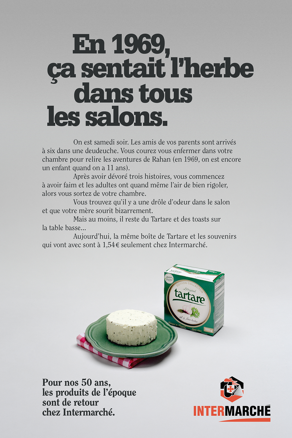 intermarche-50-ans-tf1-evelyne-leclercq-agence-romance-tartare-fromage-packaging-1960-1970